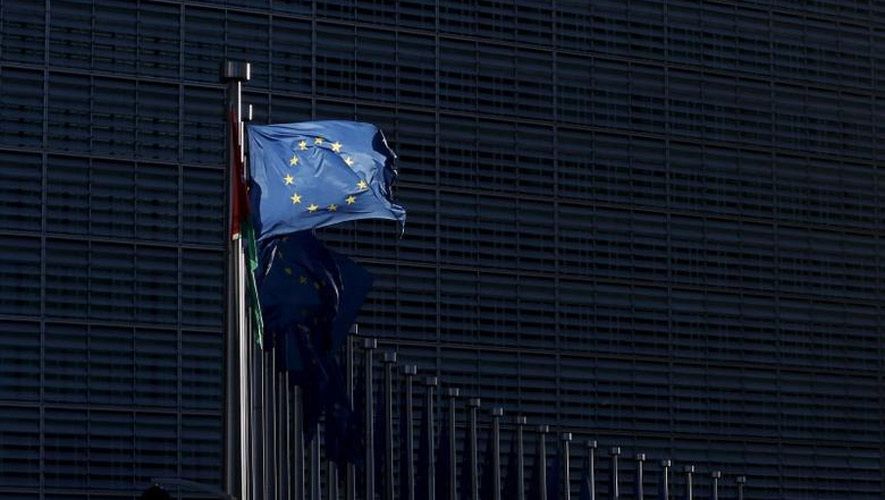 An European Union flag flutters outside the EU Commission headquarters in Brussels, Belgium, January. Reuters